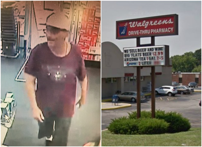 A jorts-wearing thief is wanted in at least three Walgreens robberies, police say. - IMAGES VIA ST. LOUIS COUNTY POLICE/GOOGLE EARTH
