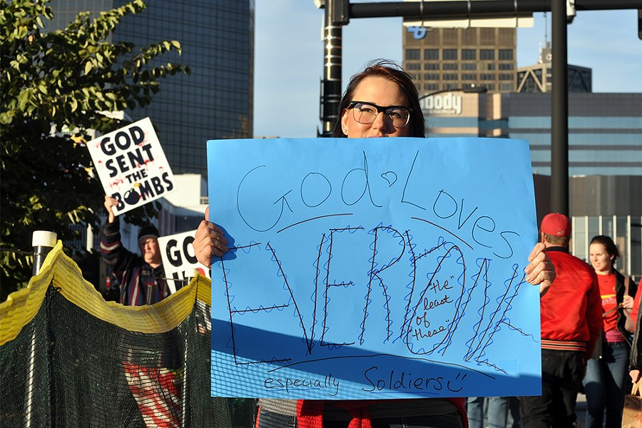 The Westboro Baptist Church last demonstrated at Busch Stadium in 2013, drawing significant counter-protest. - PHOTO BY DANNY WICENTOWSKI