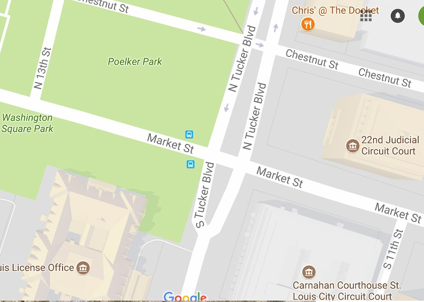 A section of Poelker Park will be set aside for protests following the Jason Stockley verdict, Mayor Lyda Krewson says. - IMAGE VIA GOOGLE MAPS
