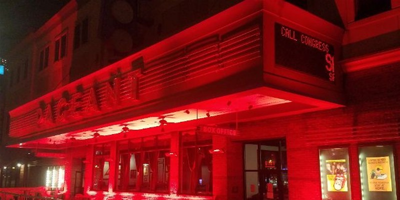 The Pageant, bathed in red light Tuesday night to draw attention to the RESTART Act.