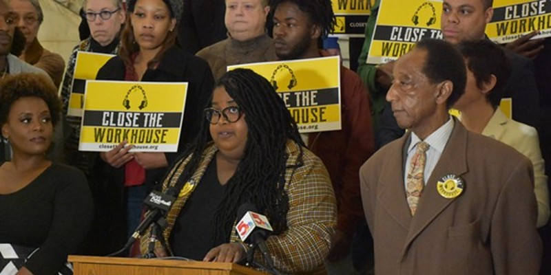 Action St. Louis Executive Director Kayla Reed speaking in January during the Close the Workhouse campaign.