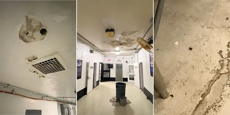 Three scenes from tour inside the Workhouse jail show (from lift to right) holes in a hallway ceiling, rain leaking into buckets, and a bug on the decrepit kitchen floor.
