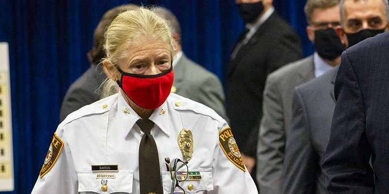 St. Louis County police chief Mary Barton is out.