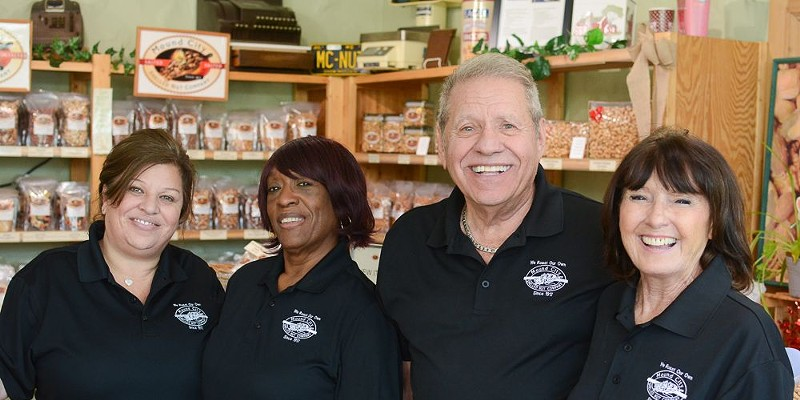 Byron Smyrniotis (third from left) with his crew at Mound City Shelled Nut Company.