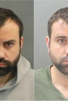 John Wells in booking photos from November (left) and June.