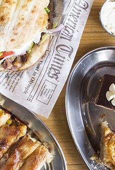 J's Pitaria boasts (clockwise from left) doner kebabs, house-made desserts and a variety of pitas, sold by the pound.