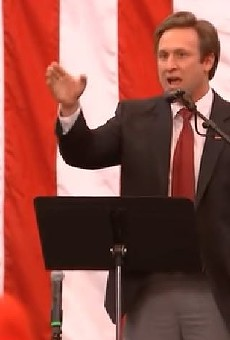 Courtland Sykes delivers a speech during a Roy Moore rally in Alabama on December 11, 2017.