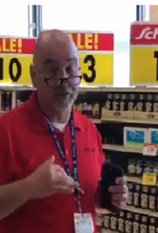 A Schnuck's worker, shown in a screengrab, was fired after refusing a black couple service.