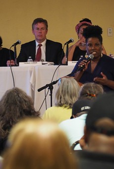 Sonya Pointer speaks out against a TIF project proposed for University City.