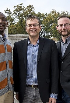 ArchCity Defenders executive director Blake Strode (left) with the firm's co-founders Thomas Harvey and Michael-John Voss.