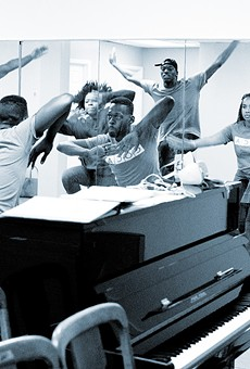 Choreographer Christoper Page-Sanders leads The Gringo cast in rehearsal.