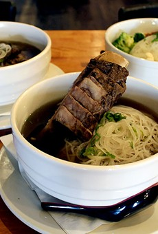 The beef rib pho is served with a 16 ounce rib in the soup.