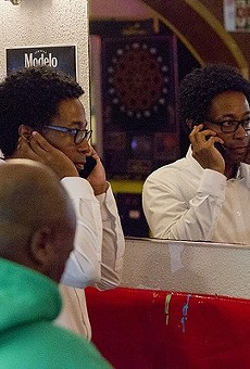 Wesley Bell takes a phone call on August 7, minutes before declaring victory over St. Louis County prosecutor Bob McCulloch.