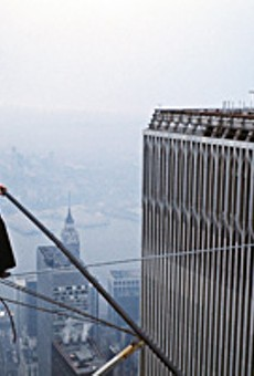 Phiippe Petit defies gravity, sanity and World Trade Center security.