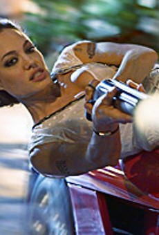 Angelina Jolie gets her swerve on in the fantasy-thriller Wanted.