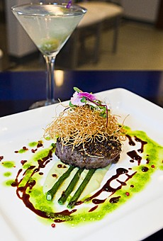 Kind of blue: Szechuan peppercorn-crusted filet of beef at Ice Kitchen.