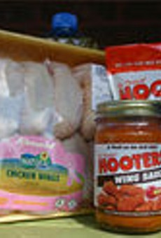 The Original Hooters Wing Breading; The Original Hooters Wing Sauce (Hot); Schnucks Natural Chicken Wings; Crisco All Natural Pure Vegetable Oil