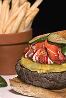 The Burger Bar's American Kobe beef burger on ciabatta topped with roasted pineapple, Maine lobster and zucchini.