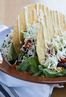 Gringo's colorful taco salad is made with corn tortillas, black beans, jack cheese, Mexican crema, cilantro-buttermilk dressing and a slew of vegetables. Slideshow: Inside Gringo in the Central West End