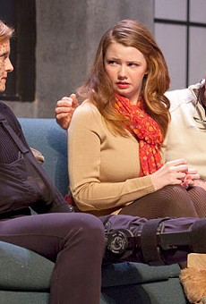 Jenni Ryan, Julia Crump and Jerry Vogel in a moving Time Stands Still.