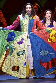 """Ace Young as Joseph and Diana DeGarmo as Narrator during the number """"Jacob and Sons."""""""