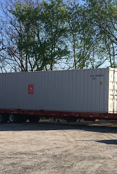 """The """"secure"""" mobile office where $10,000 worth of tools were stored."""