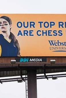 Webster University's new billboard up between Columbia and St. Louis on I-70