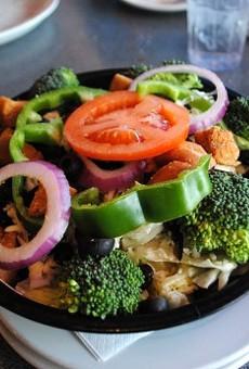 Garden salad with creamy pepper Parmesan dressing.