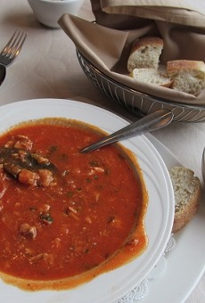 A bowl of Cafe Napoli's cioppino, a tomato-based seafood stew.
