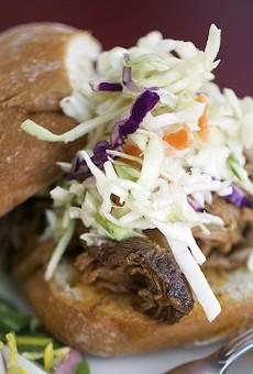 The beer-braised brisket sandwich at Water Street Café
