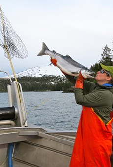 Big red: Poet, freelance writer and commercial fisherman Jen Pickett is hauling in some big-ass Copper River sockeye this year.
