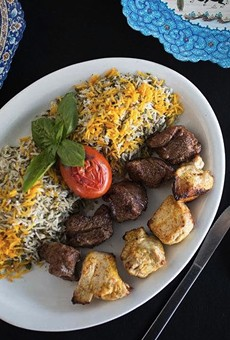 A platter of Cafe Natasha's beef and chicken shish kebabs. | Jennifer Silverberg