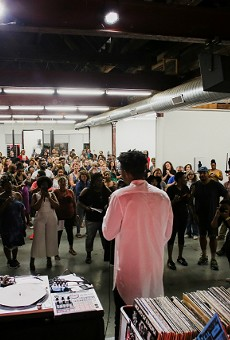 The opening reception for Damon Davis's 2018 exhibition Darker Gods in the Garden of the Low-Hanging Heavens at the Luminary.