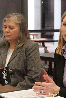 Auditor Nicole Galloway, right, is the only woman holding statewide office in Missouri.