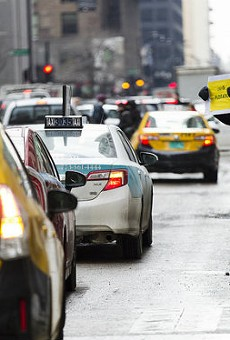 Taxi drivers in Chicago protest Uber.