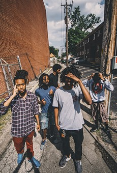 Five of the six members of MME -- a hip-hop collective making big waves through its music in the post-Ferguson era.