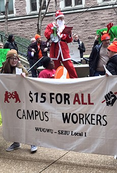 Protesters want Washington University to raise wages and provide childcare for workers.