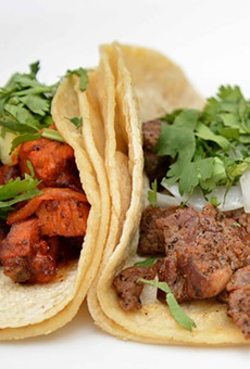 Tacos al pastor (pork loin) and res (beef) tacos are cheap and tasty around $3.