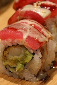 """The """"White House Roll"""" with salmon instead of white tuna."""