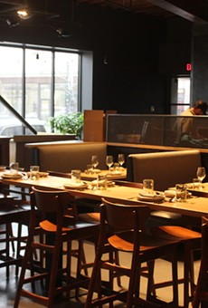 Elmwood features a long communal table, in addition to more traditional seating.
