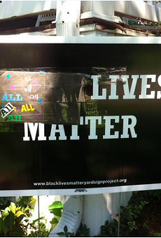 """Sue Dersch's """"Black Lives Matter"""" sign was defaced last Tuesday. But that was only the beginning."""