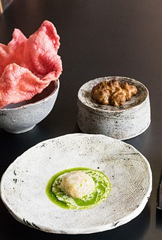 Tasting menu courses at Savage include innovative preparations of beet chicharron, sunchoke, toasted yeast mousse and celery root.