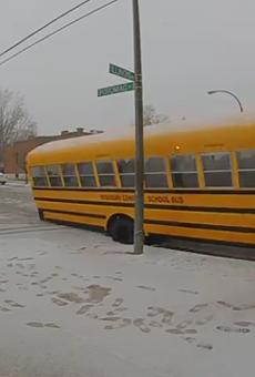 Watch This St. Louis Pothole Attempt to Eat a Whole School Bus