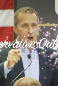 A screenshot of an attack ad against Eric Greitens.