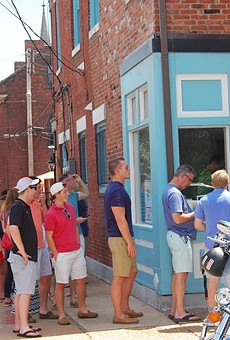 A line outside Tropical Liqueurs on its opening weekend.