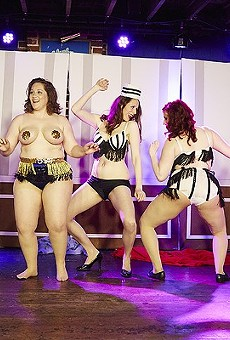 The Kiss & Tells burlesque troupe, photographed at the Duck Room in April 2015.
