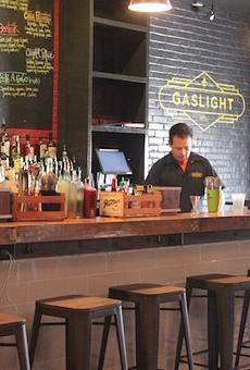 The bar at Gaslight STL serves craft cocktails.