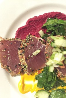 Ahi tuna with sesame ginger dressing and a cucumber salad — one course from last week's beer dinner by chef Mikey Carrasco.