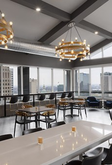Form Skybar soars sixteen floors above downtown St. Louis in the Hotel Saint Louis.