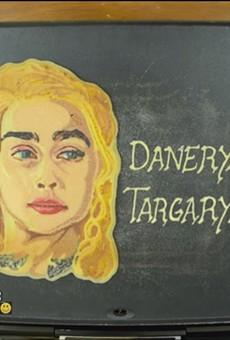 """Dr. Dan the Pancake Man draws Danerys """"Khaleesi"""" Targaryen in pancake form."""